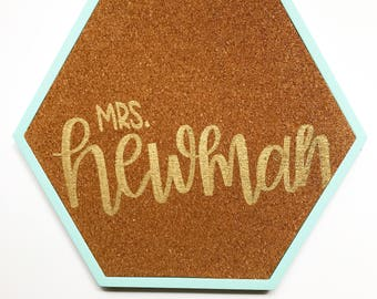custom cork board - hand lettered