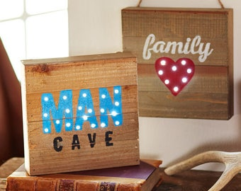 fathers day man cave/family lighted plaque