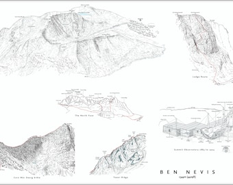 Ben Nevis, Britain's Highest Peak, Lochaber. Line illustration detailing all the mountain features.