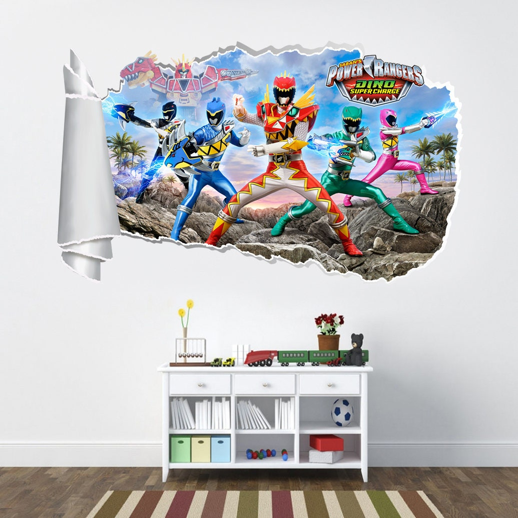 Power Rangers Dino Charge 3d Torn Hole Ripped Wall Sticker Decal Art