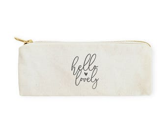 Cotton Canvas Hello Lovely Pencil Case and Travel Pouch for Back to School, Supplies, Teen Gifts, Zipper Pouch, Makeup Bag, Cosmetic Bag