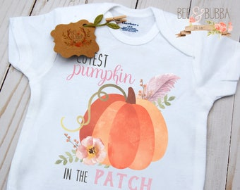 Cutest Pumpkin In The Patch Onesie, Girls Fall Boho Onesie, Fall Baby Bodysuit, Autumn Shirt, Pumpkin Patch Shirt Take Home Outfit Baby Gift