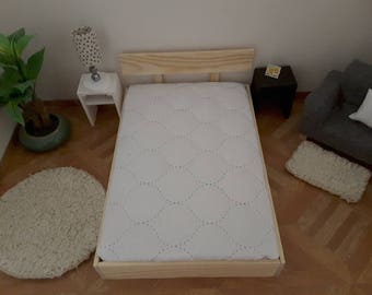 Barbie  size 1/6 scale wooden double bed with mattress..