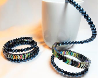 Chevron and Pearlized Bead Memory Wire Wrap Bracelet