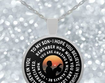 Mother Son Necklace - Inspirational Pendant Design- Cute Gift - Silver/Gold Chain - Personalized