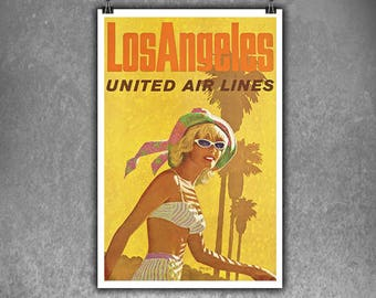 Los Angeles united airways vintage poster.  Canvas Print Poster, Poster Print, Wall Art, Room Decor, Office Decor,City, Cities, Vintage City