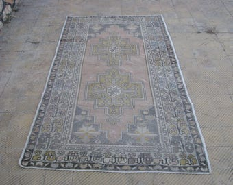 TURKISH PALE RUG , Vintage Lovely Faded Red Area Rug , 4'5 x 8'1 ft