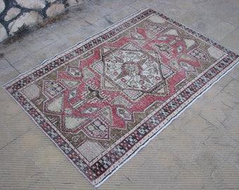 TURKISH SMALL RUG , Vintage Lovely Pastel Rug , 4'1  x 6'2 feet
