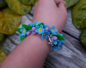 Flower polymer clay, wedding jewelry,Blue flower bracelet,blue jewelry,flower jewelry,nature jewelry,botanical jewelry,flower accessory