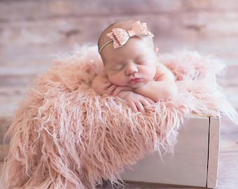 Rose Gold Glitter Bow - nylon bows, baby bow set, sparkly bow, first birthday bows, hair bows for kids, newborn bow set, cute hair bows