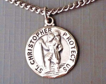 """Men's Saint Christopher Sterling Silver Pendant 24"""" Necklace Chain, Gift Boxed, Free Shipping"""