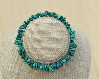 Marvellous Malachite Chip Bead Elasticated Bracelet Jewellery Crystal Energy Reiki Healing Meditation