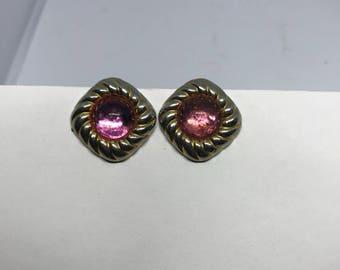Vintage Clip On Earrings - pink rhinestone & gold tone