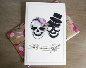 Til Death Do Us Part Skulls Blank Card