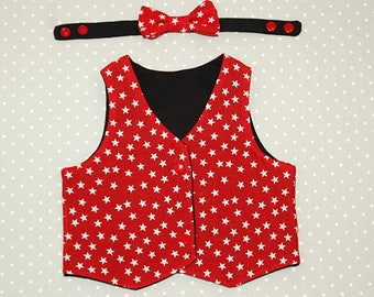 3 month reversible waistcoat - Red with White Stars and Black - Puperita Red Rover Vest