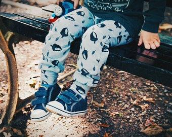 Baby & Toddler Leggings- grey acorns- Organic Cotton- preemie to age 6