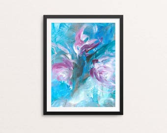 Flowers - giclee art print, modern art print, abstract art, modern design