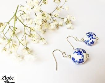 """""""Blue cherry tree"""" earrings"""