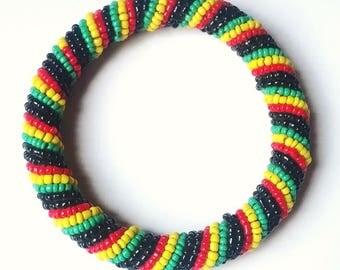 Rasta - Black| Red| Green| Yellow African Bead Bracelet