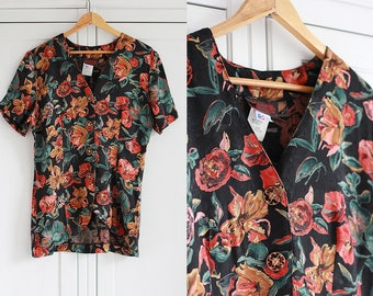 Vintage Floral Blouse shirt Women Retro 80s Flower Pattern Black red green top Colorful Short Sleeves Button Down / Medium size