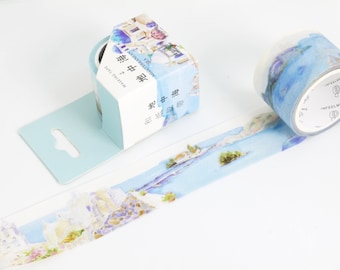 Wide washi tape with Ruissa landmark, wide masking tape with Meaditerranean sea view, London travel washi tape, travel planner art