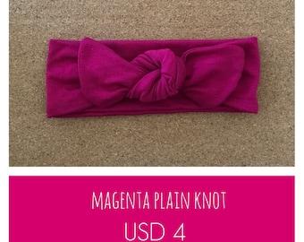 Baby knotted headband, Top knot baby headband, Magenta baby headband, Magenta, Plain Knot Headband