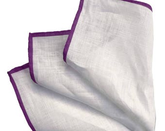 White Linen Pocket Square with Purple Contrasting Hem