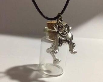 Dog and bone bottle charm necklace