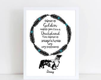 Personalised Dachshund Gift - Dachshund Print - Dachshund Art - Dachshund Gifts - Custom Dachshund GIFT - Sausage dog Gift Sausage dog art