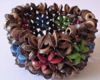 Vintage bracelet coconut bracelet, coconutshell, coconut bracelet, vintage jewelry, vintage, gift idea