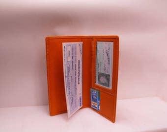 orange soft calfskin leather checkbook