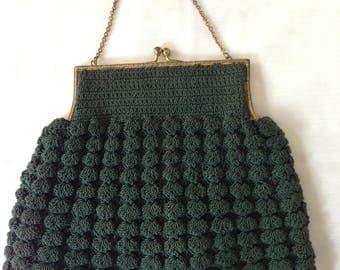 Green Crocheted Corde Handbag