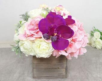 Wedding centerpiece. Spring Summer silk flower arrangement. Pink Peony Hydrangea Orchid centerpiece. Bridal shower. Flower Gift.Home décor.
