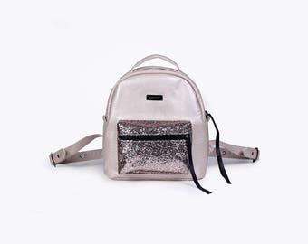 Small Backpack,Pink Rucksack,Vegan Backpack,Mini Backpack,Gift for Her,Women Backpack,Vegan Leather Bag,Everyday Backpack