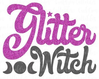 Glitter Witch SVG Cut File - Halloween Clipart - Wicca DXF EPS Png File - Diecut Machine Digital File - Instant Download
