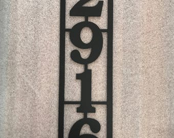 Vertical Metal House Number with 4 Numbers and Border / Metal Address Sign / Address Numbers / Mailbox Sign