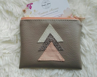 wallet leather taupe, beige triangles Cooper and apricot
