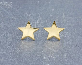 Earrings 925 sterling silver plated 'Star' * stud earrings star