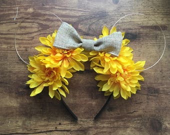 Burlap and Sunflower Floral Wire Mickey Mouse Ears