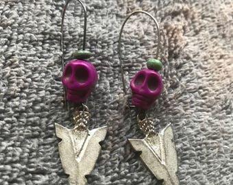 Skull ArrowHead Silver Drop Earrings