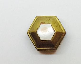 Pocket pill box or Hexagon shape brass tobacco box