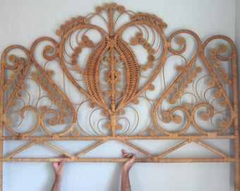 Rattan Wicker Peacock Headboard Queen LOCAL PICKUP ONLY