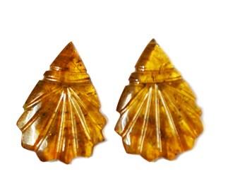 Natural Orange  TOURMALINE Carving Pair / 16 carats / Tourmaline Carving