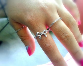 Bow And Chain Rings Set Silver Stacking Rings Silver Bow Ring Silver Chain Stacking Rings Silver Chain Rings Minimalist Rings