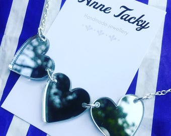 MIRROR HEART bunting necklace silvrt laser cut acrylic jewellery tacky festival wear kitsch retro style 90's