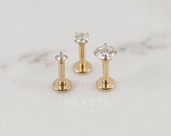 Gold Titanium 2mm/3mm/4mm CZ stud Tragus Earring/Labret/Flat Back/Cartilage earring/Tragus stud/gold labret/Helix/conch/Lip rings/Monroe/