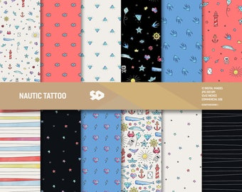 Nautical tattoo digital paper pack. Hand draw scrapbooking pages, marine background, watercolor scrapbook sheets pattern, valentine