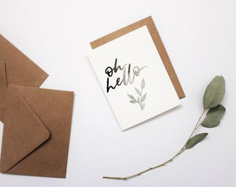 HELLO CARD, hand lettered card, greeting card.