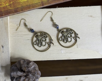 """cute pair of earrings """"Octopus"""" octopus - steampunk - witch - Gothic - sailor - magic - fairy - legend - goth"""