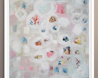 Abstract Painting, Original Painting Bird Tree Abstract,  Fine Art on Canvas by Lara Wonderland